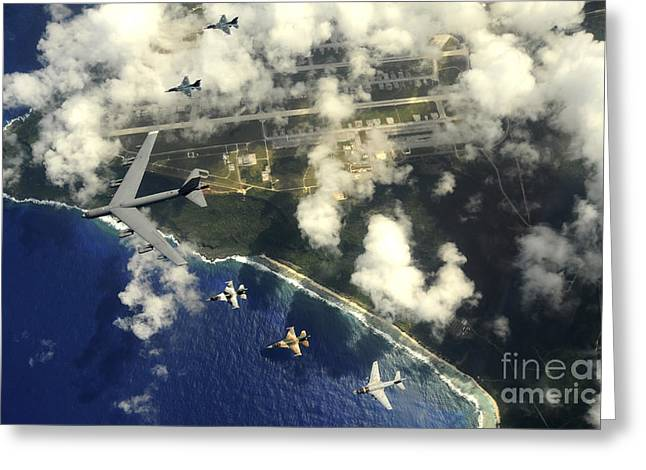 Guam Greeting Cards - A B-52 Stratofortress Leads A Formation Greeting Card by Stocktrek Images