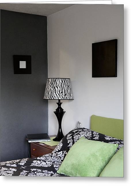 Shower Curtain Greeting Cards - A Bedroom In A House. A Double Bed Greeting Card by Christian Scully
