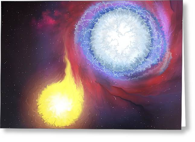 Binary Greeting Cards - A Binary Star System Greeting Card by Corey Ford