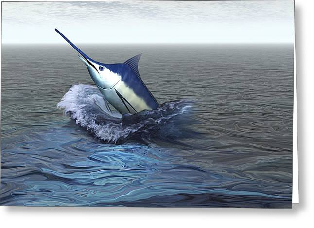Swordfish Greeting Cards - A Blue Marlin Bursts From The Ocean Greeting Card by Corey Ford