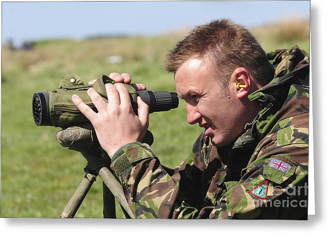 Squinting Greeting Cards - A British Army Sniper Looks Greeting Card by Andrew Chittock