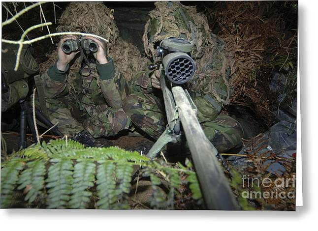 Jungle Warfare Greeting Cards - A British Army Sniper Team Dressed Greeting Card by Andrew Chittock