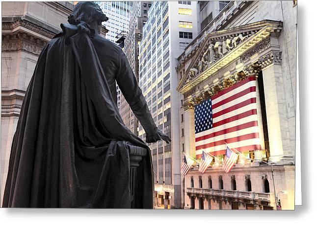 Wall Street Greeting Cards - A Bronze Statue Of George Washington Greeting Card by Justin Guariglia