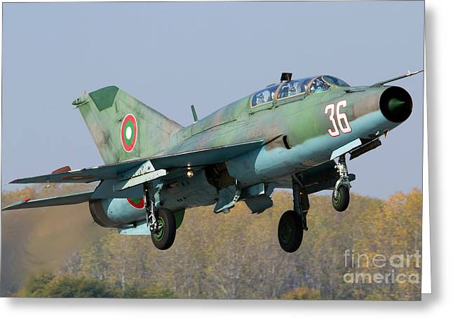 A Bulgarian Air Force Mig-21um Jet Greeting Card by Anton Balakchiev