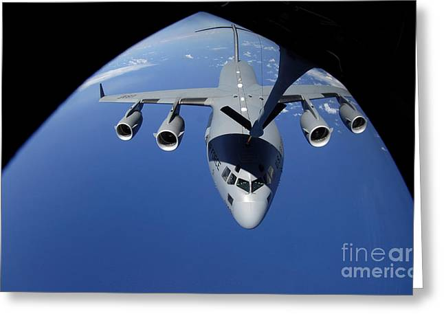 A C-17 Globemaster Iii Receives Fuel Greeting Card by Stocktrek Images