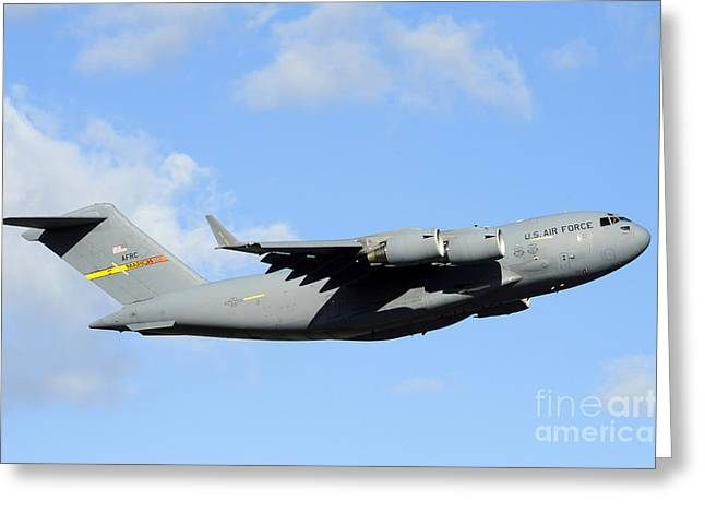 Cargo Greeting Cards - A C-17 Globemaster Iii Greeting Card by Stocktrek Images