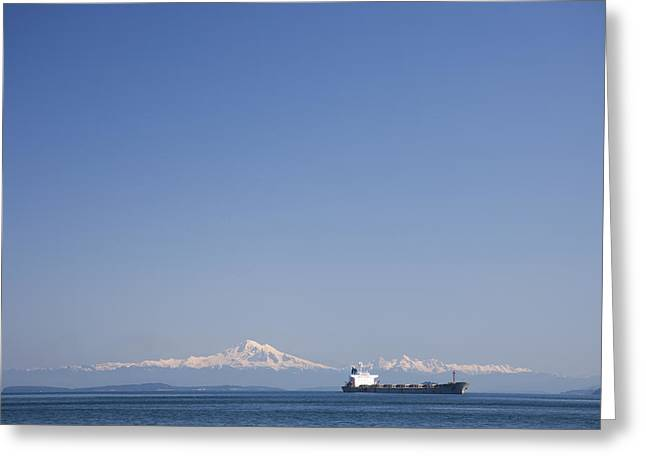 Baker Island Greeting Cards - A Cargo Ship Goes Through The Gulf Greeting Card by Taylor S. Kennedy