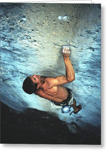 Release Greeting Cards - A Caucasian Man Rock Climbing Greeting Card by Bobby Model