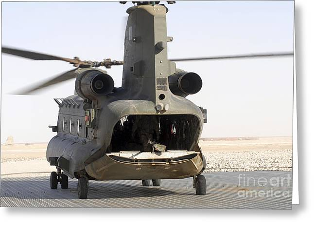 Foreign Military Greeting Cards - A Ch-47 Chinook Of The Royal Air Force Greeting Card by Andrew Chittock