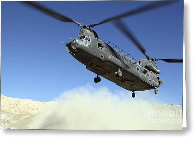 Stocktrek Images - Greeting Cards - A Ch-47 Chinook Prepares To Land Greeting Card by Stocktrek Images