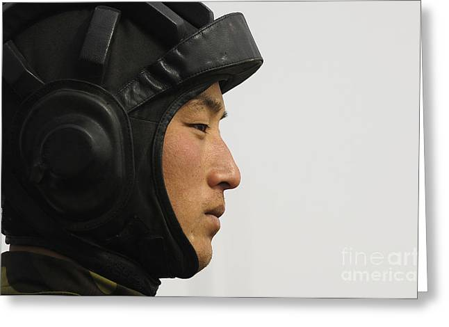 Liberation Greeting Cards - A Chinese Tanker Soldier Greeting Card by Stocktrek Images