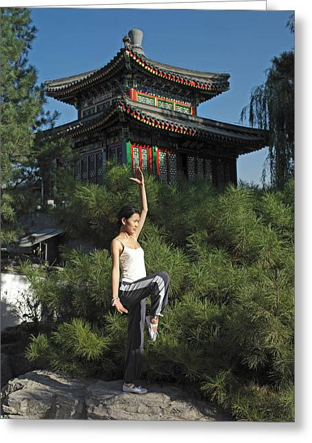 Nature Of Being Greeting Cards - A Chinese Woman In Her 20s To 30s Doing Greeting Card by Justin Guariglia