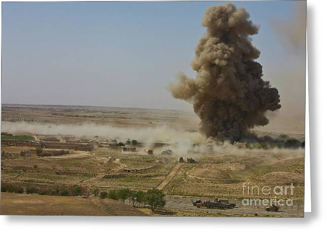 Helmand Province Greeting Cards - A Cloud Of Dust And Debris Rises Greeting Card by Stocktrek Images