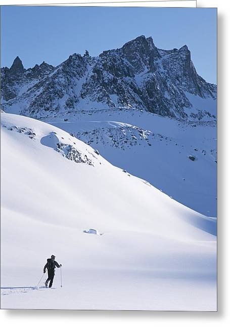 A Cross Country Skier In The Selkirk Greeting Card by Jimmy Chin