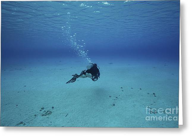 Oxygen Tank Greeting Cards - A Diver On A Scooter Explores The Clear Greeting Card by Terry Moore