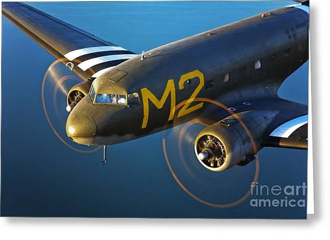 Dc-3 Plane Greeting Cards - A Douglas C-53 Skytrooper In Flight Greeting Card by Scott Germain