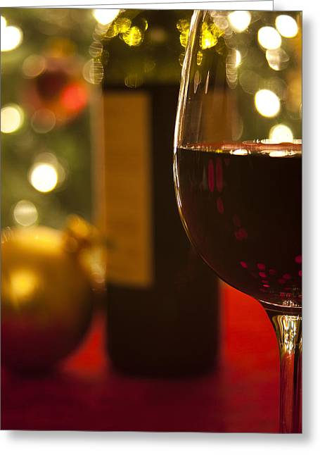 Red Wine Bottle Greeting Cards - A Drink by the Tree Greeting Card by Andrew Soundarajan
