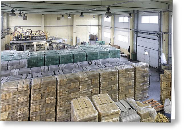 Cardboard Greeting Cards - A Factory Floor A Processing Plant Greeting Card by Jaak Nilson
