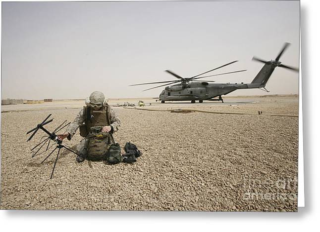 Iraq Greeting Cards - A Field Radio Operator Sets Greeting Card by Stocktrek Images