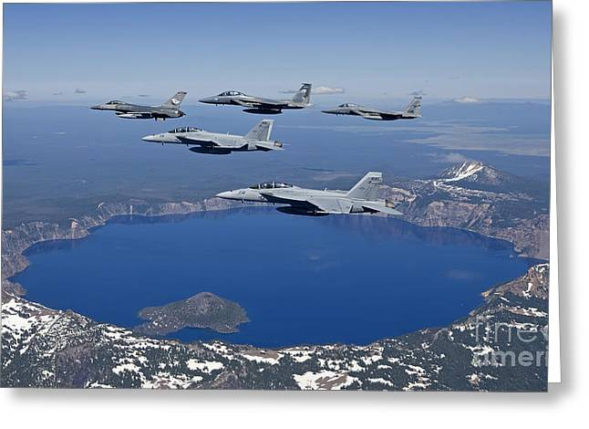 F-18 Greeting Cards - A Five Ship Aircraft Formation Flies Greeting Card by HIGH-G Productions