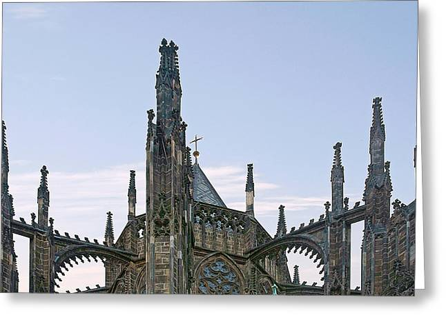 Bohemian Greeting Cards - A Forest of Spires - St Vitus Cathedral Prague Greeting Card by Christine Till