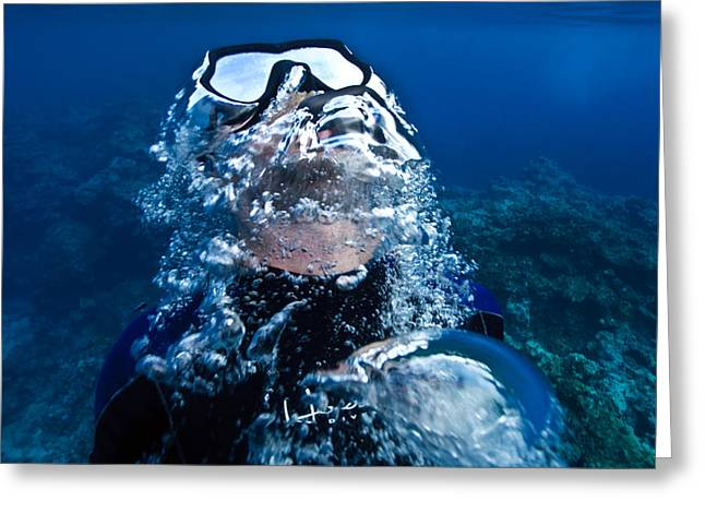 Snorkel Greeting Cards - A Free Diver Exhales Greeting Card by Jason Edwards