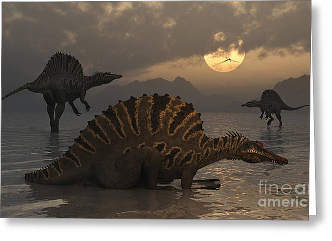 Primeval Greeting Cards - A Group Of Spinosaurus Greeting Card by Mark Stevenson