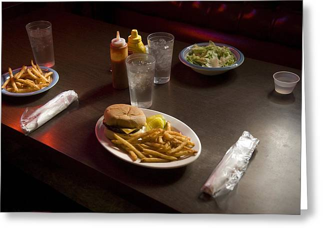 French Fries Greeting Cards - A Hamburger Lunch At A Restaurant Greeting Card by Joel Sartore