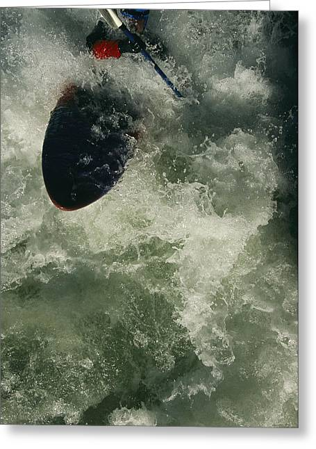 Model Release Greeting Cards - A Kayaker On The Iron Curtain Class 5 Greeting Card by Bobby Model