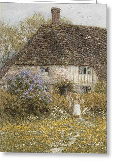 Run Down Paintings Greeting Cards - A Kentish Cottage Greeting Card by Helen Allingham
