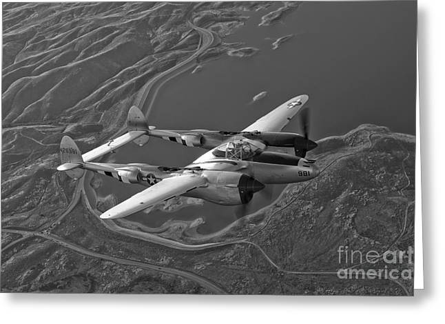 P-38 Greeting Cards - A Lockheed P-38 Lightning Fighter Greeting Card by Scott Germain
