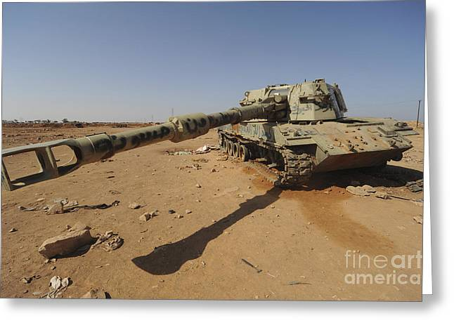 Liberation Greeting Cards - A M109 Howitzer Destroyed By Nato Greeting Card by Andrew Chittock
