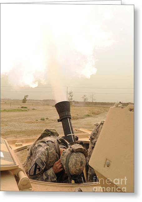 Iraq Conflict Greeting Cards - A M120 Mortar System Is Fired Greeting Card by Stocktrek Images