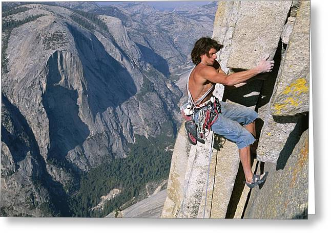 From The Dome Greeting Cards - A Man Climbing Half Dome, Yosemite Greeting Card by Jimmy Chin