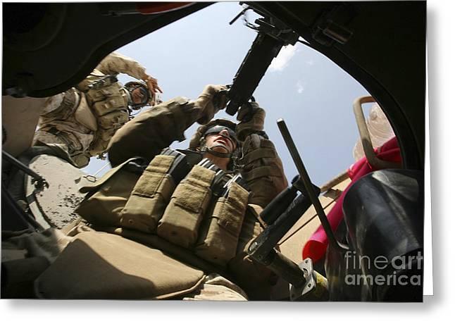 .50 Caliber Greeting Cards - A Marine Rocks His M-2 .50-caliber Greeting Card by Stocktrek Images