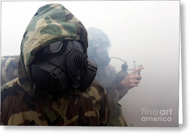 A Marine Wearing A Gas Mask Greeting Card by Stocktrek Images