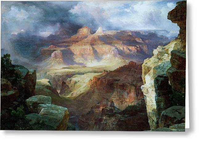 Crag Greeting Cards - A Miracle of Nature Greeting Card by Thomas Moran