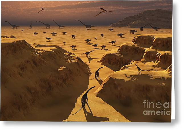 The Plateaus Digital Greeting Cards - A Mixed Herd Of Dinosaurs Migrate Greeting Card by Mark Stevenson