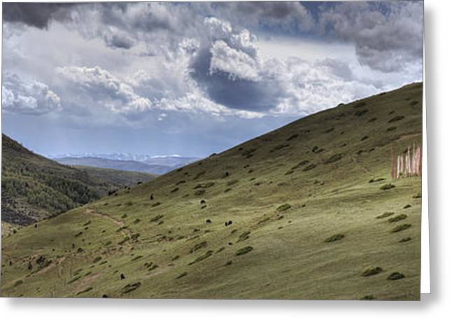 Tibetan Buddhism Greeting Cards - A Mountain Valley With A Large Group Greeting Card by Phil Borges