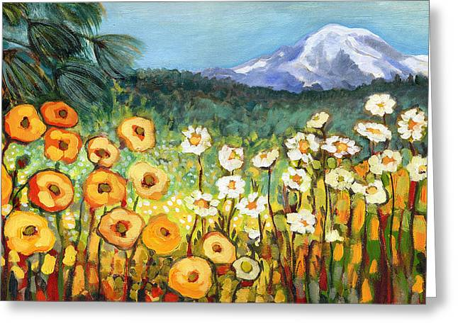 Fields Greeting Cards - A Mountain View Greeting Card by Jennifer Lommers