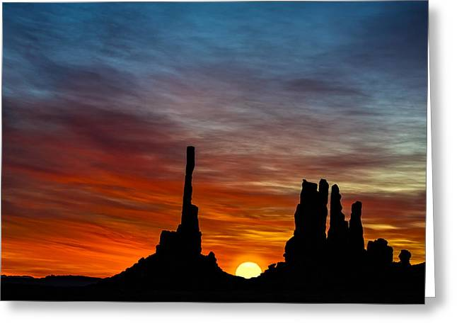 A New Day At The Totem Poles Greeting Card by Susan Candelario