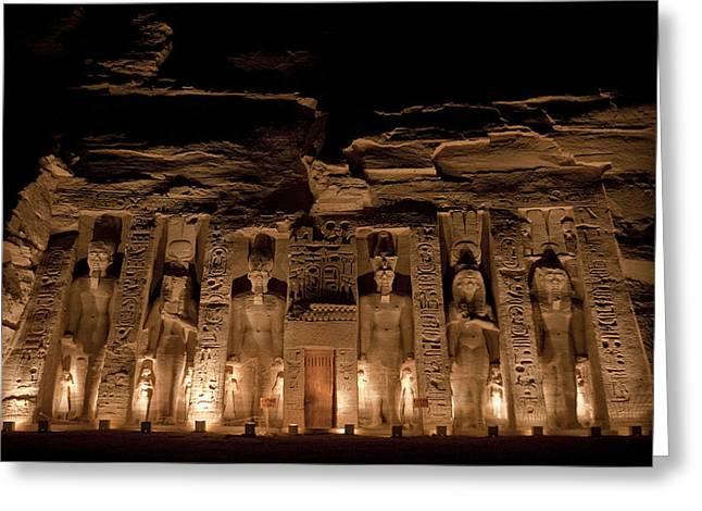 Statue Portrait Greeting Cards - A Nighttime View Of Nefertaris Temple Greeting Card by Taylor S. Kennedy