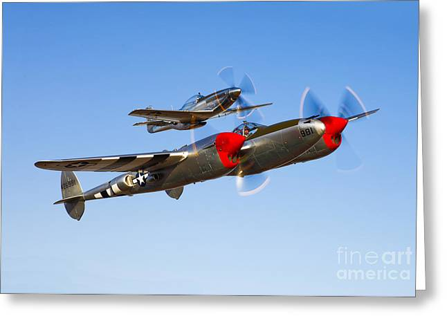 Images Lightning Greeting Cards - A P-38 Lightning And P-51d Mustang Greeting Card by Scott Germain