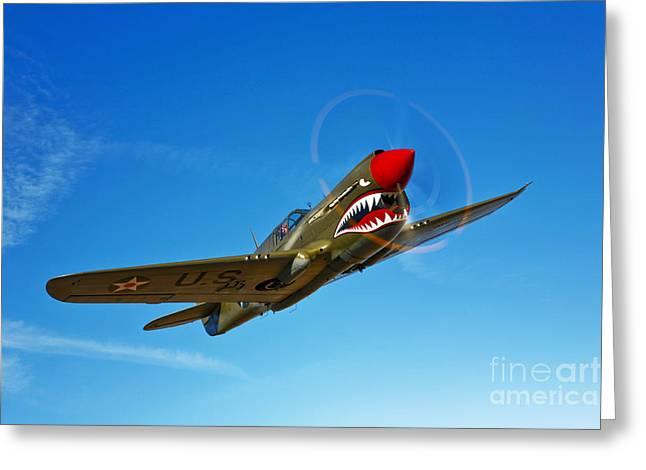 Curtiss Kittyhawk P-40 Greeting Cards - A P-40e Warhawk In Flight Greeting Card by Scott Germain