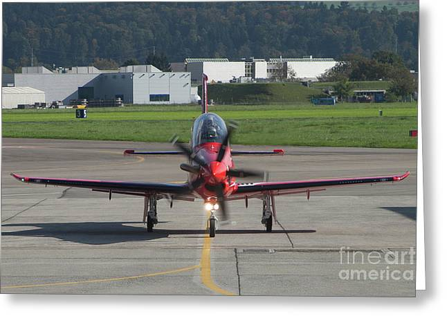 Monoplanes Greeting Cards - A Pilatus Pc-21 Trainer Of The Swiss Greeting Card by Timm Ziegenthaler