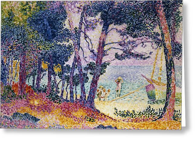 A Pine Grove Greeting Card by Henri-Edmond Cross