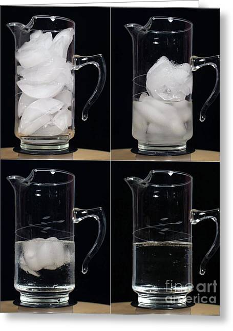 Water Pitcher Greeting Cards - A Pitcher Of Ice Melts Over 4 Hours Greeting Card by Ted Kinsman