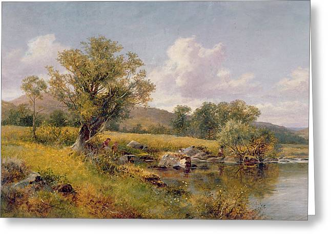 Green Leafs Greeting Cards - A River Landscape Greeting Card by David Bates