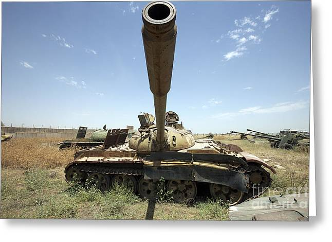 Russian Civil War Greeting Cards - A Russian T-55 Main Battle Tank Greeting Card by Terry Moore