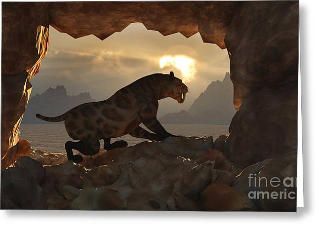 The Tiger Greeting Cards - A Sabre Tooth Tiger Stands Greeting Card by Mark Stevenson